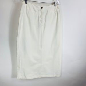 NWT Cream Denim Midi Skirt Sz 12 Zip Front Slit
